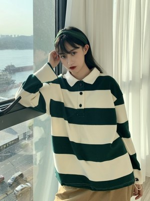 Lim Joo Kyung – True Beauty Green And White Long Sleeve Polo Shirt (11)