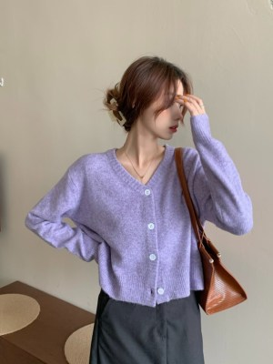 Oh Mi Joo – Run On Lilac Buttoned V-Neck Cardigan (27)