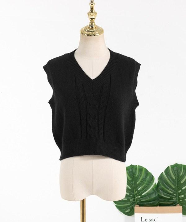 Black V-Neck Knitted Vest   Rose – BlackPink