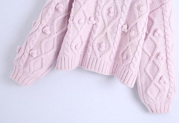 Knitted Pom Pom Lilac Sweater   Solar- Mamamoo