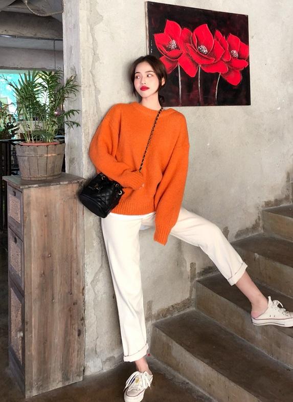 Orange Knitted Sweater | Felix – Stray Kids
