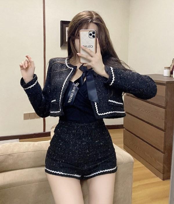 Black Wide-Leg Tweed Shorts | Jennie – BlackPink