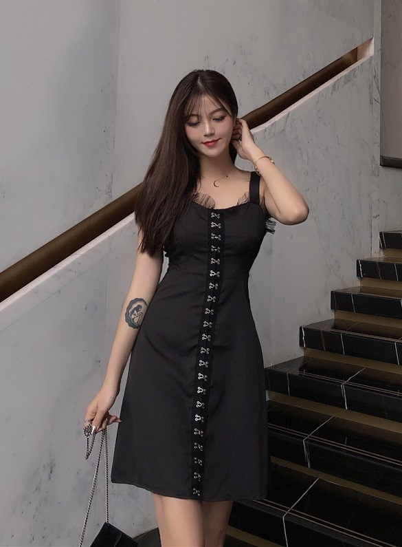 Black Sleeveless Hook Dress | Jisoo – BlackPink