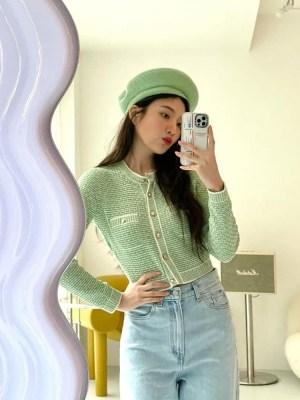 Green Tweed Cropped Cardigan | Joy – Red Velvet