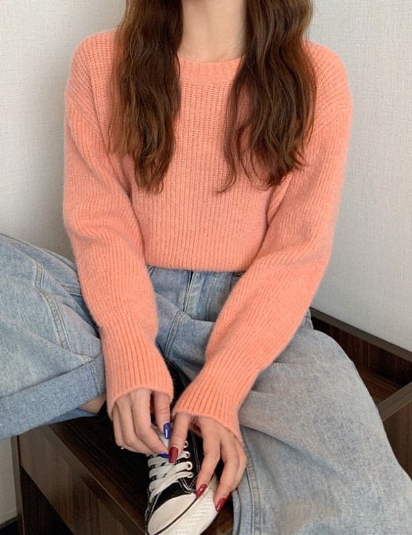 Orange Knitted Short Sweater | Lim Joo Kyung – True Beauty