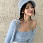 Blue Fluffy Sleeveless Top and Cardigan Set | Soyeon – (G)I-DLE
