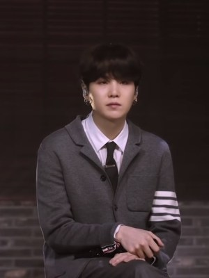 Grey Suit Jacket With Line Bars | Suga – BTS