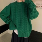 Green Cable Sweater With Slit | Taehyung- BTS