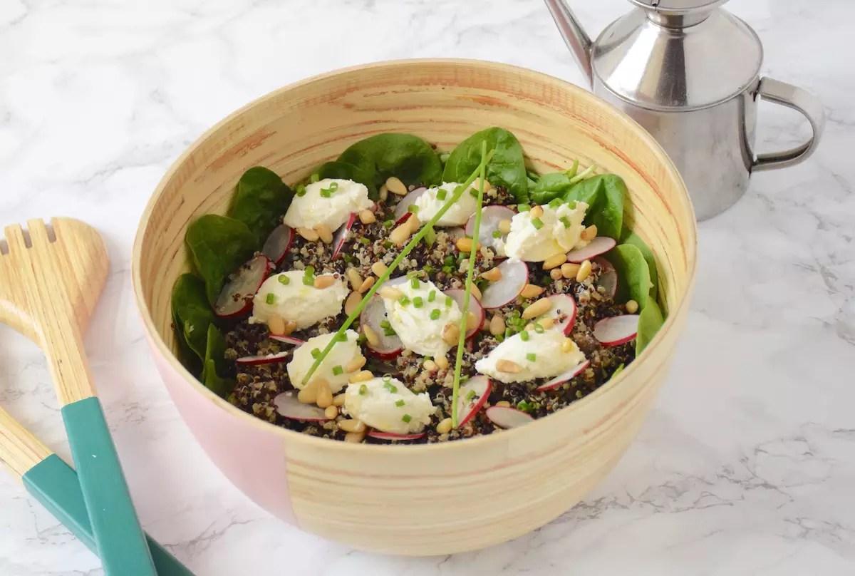 Salade lentille quinoa chèvre radis de Cojean