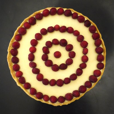 Tarte chocolat blanc-framboises