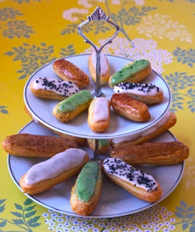 eclairs glacage vanille café pistache sésame crème pâtissière tutoriel recette