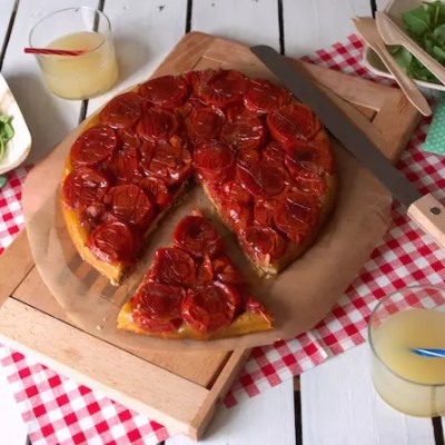 Tatin de tomates & balsamique, pâte brisée au thym