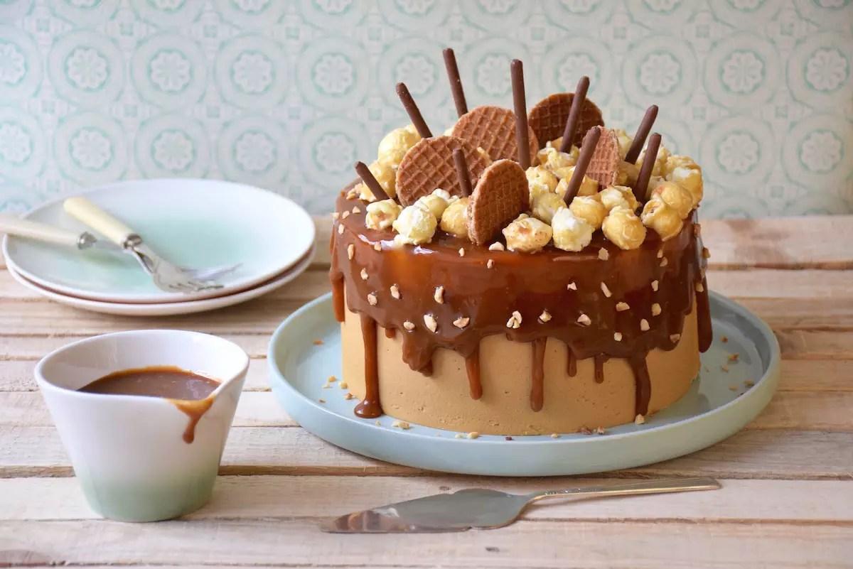 Layer cake chocolat,caramel,chicorée