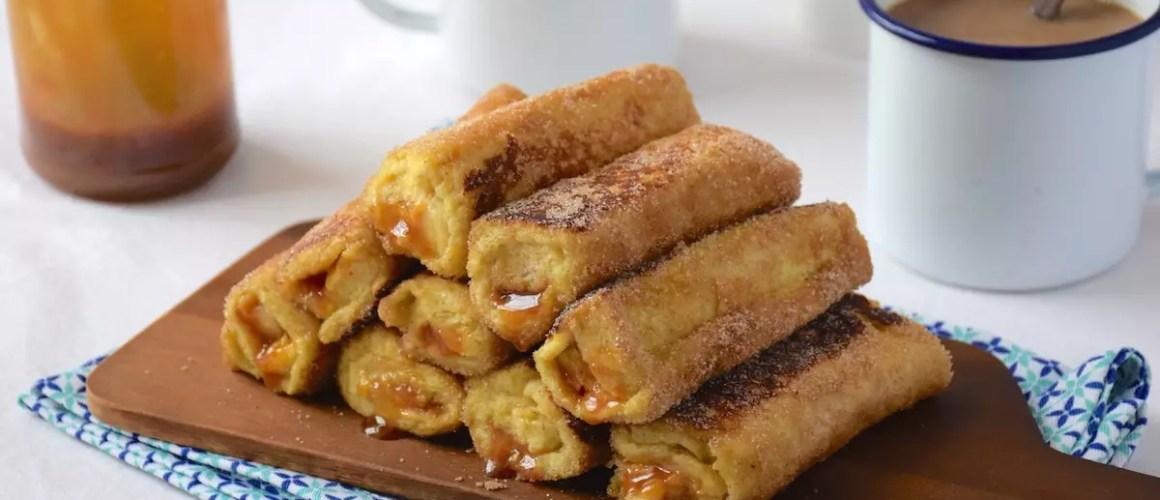 Petit-déj' de vacances – Pain perdu roulé banane-caramel