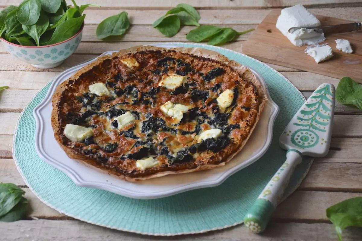 Pizza chou-fleur épinards-chèvre