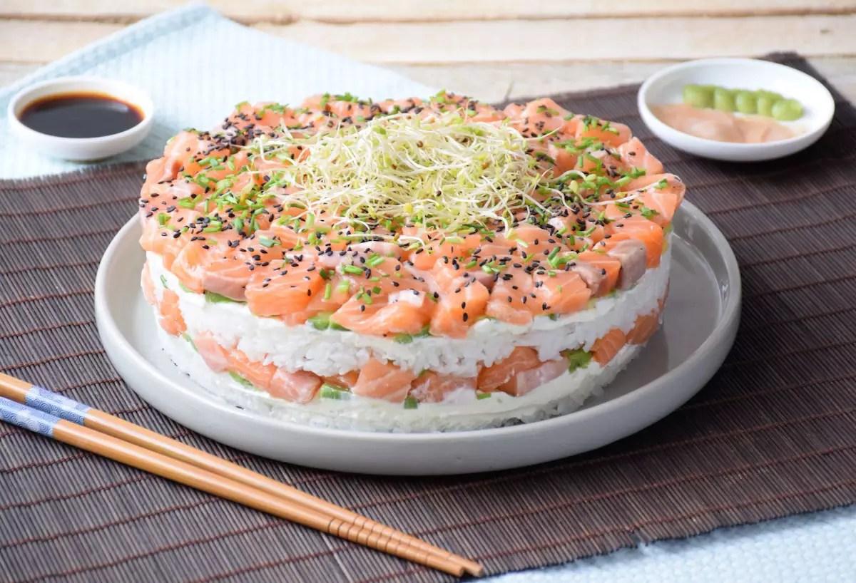 Comment Faire La Couleur Saumon sushi cake