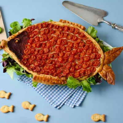 Poisson d'avril! – Tarte en forme de poisson thon-feta-tomates cerises