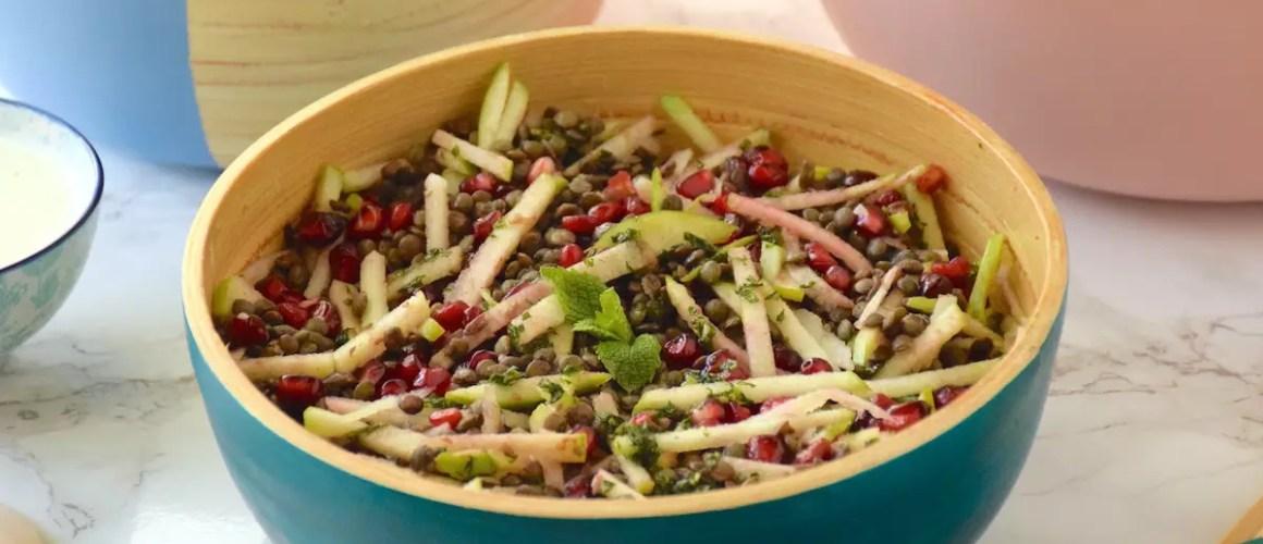 Buffet de salades – Salade lentilles, grenade & Granny Smith