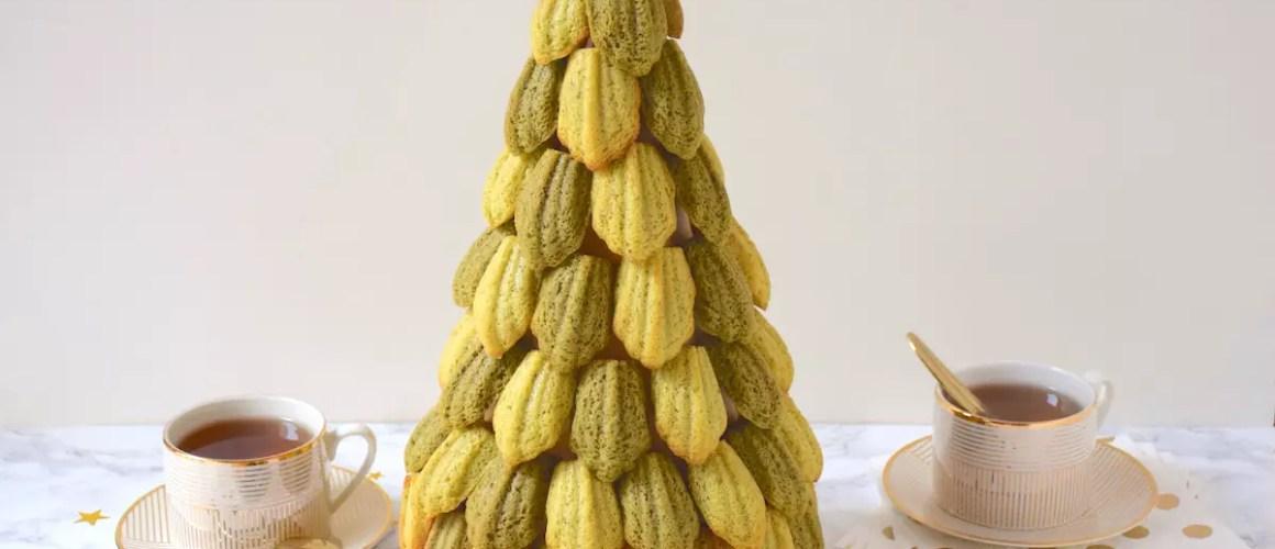 La bonne idée – Sapin de madeleines pistache – matcha