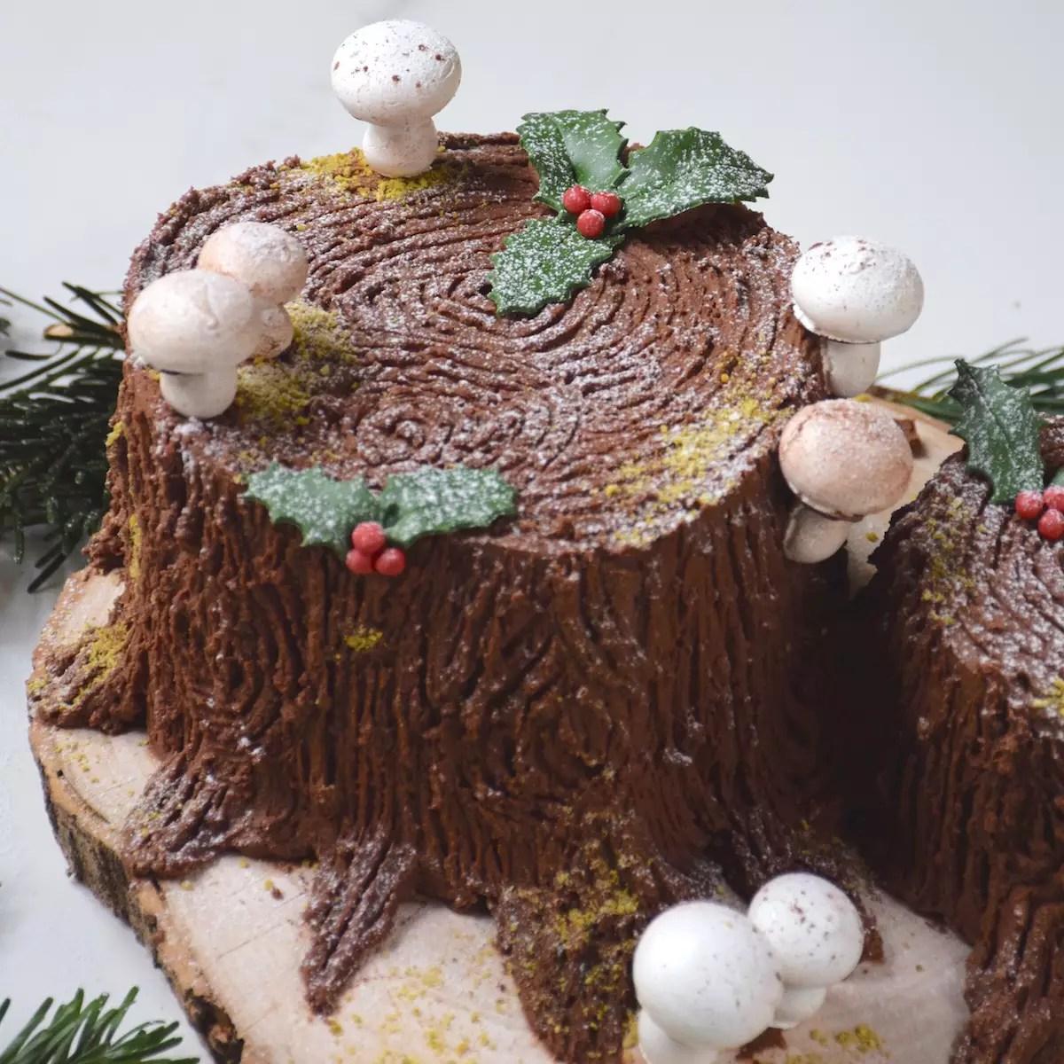 Bûche souche de Noël (mud cake & marrons)