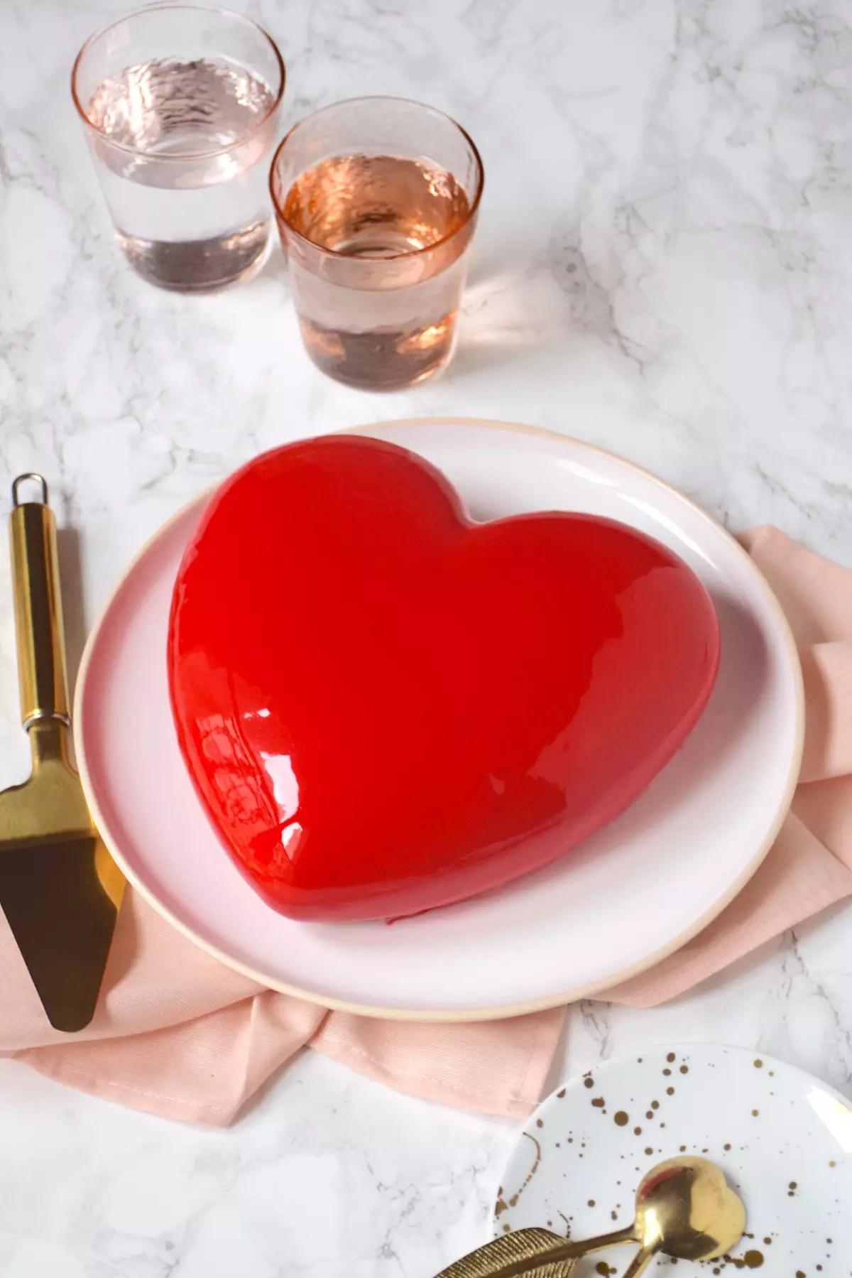 Gâteau cœur fraise pistache St Valentin