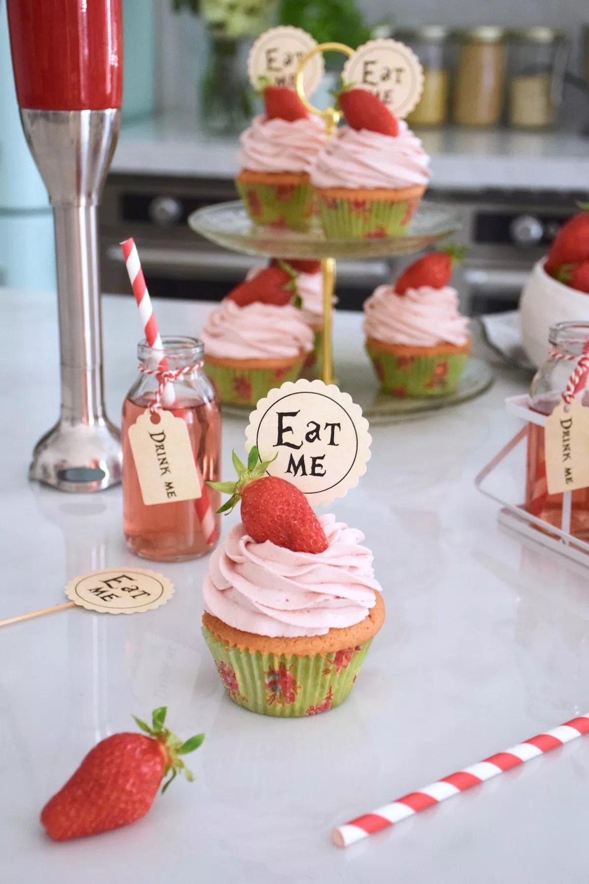 Parfaits cupcakes vanille fraise, ganache montée fraise
