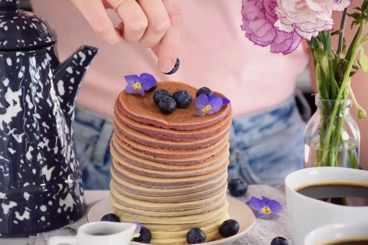 Rainbow pancakes lait de soja