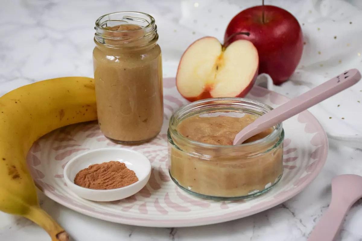 Petit pot bébé: compote pomme banane cannelle