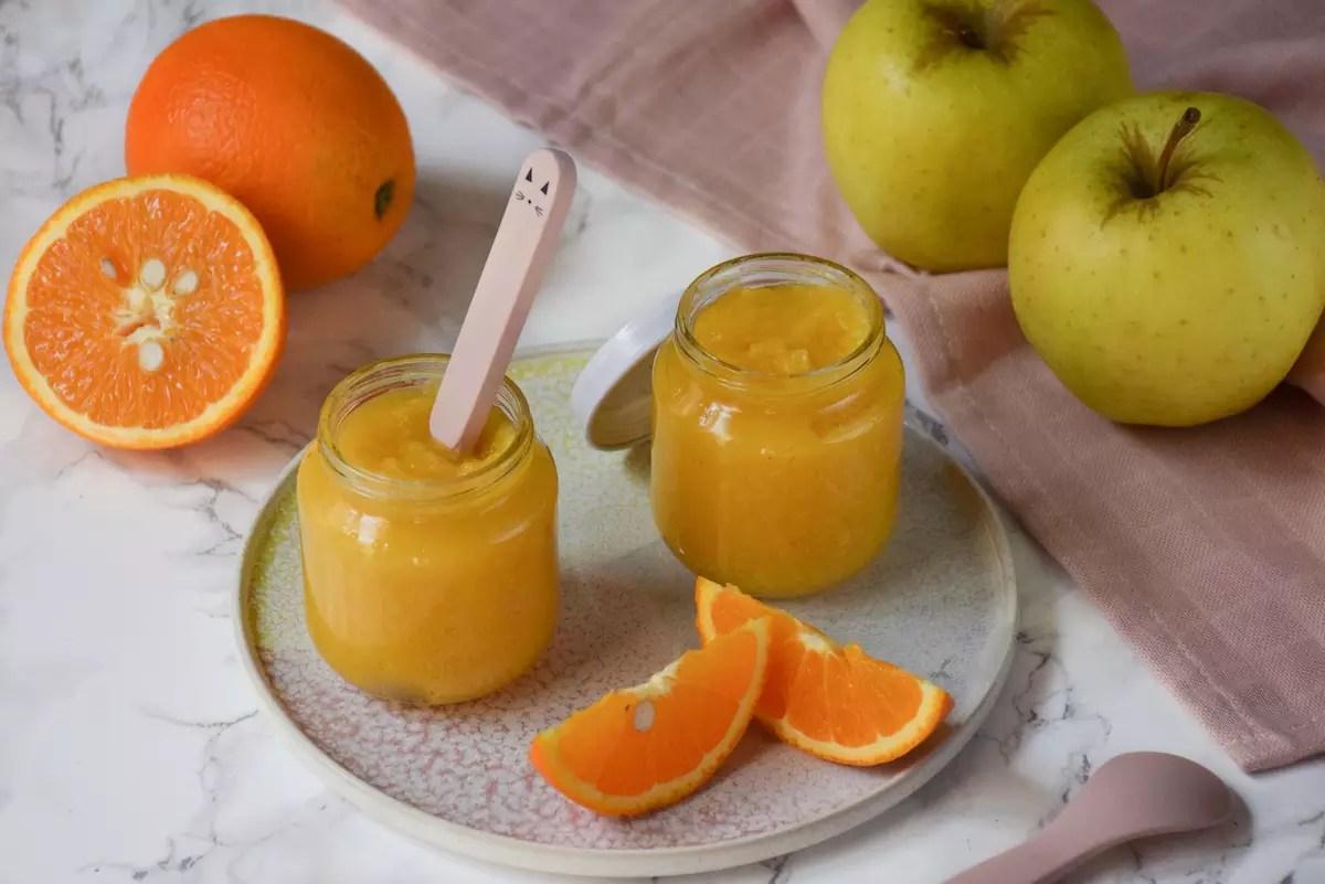 Petit pot bébé: compote pomme orange