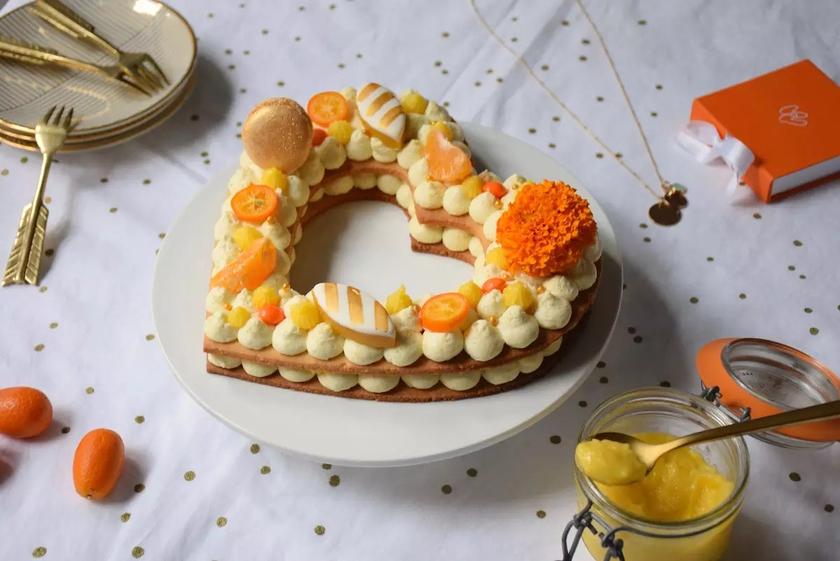 Number cake orange vanille coeur