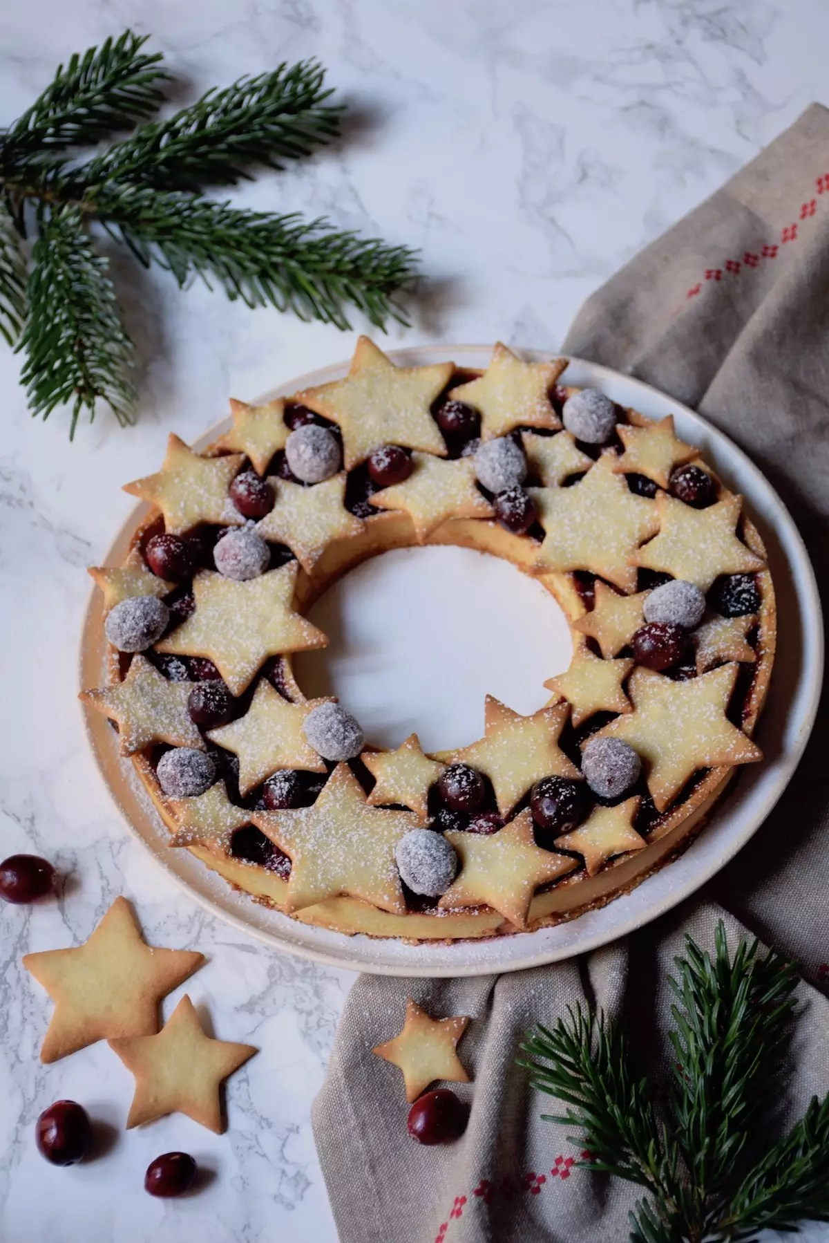Tarte cranberries orange en couronne