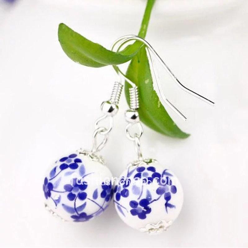 Ceramic Blue White Dangle Earrings