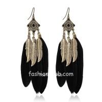 Black Feather Drop Long Earrings | Shop Imitation ...