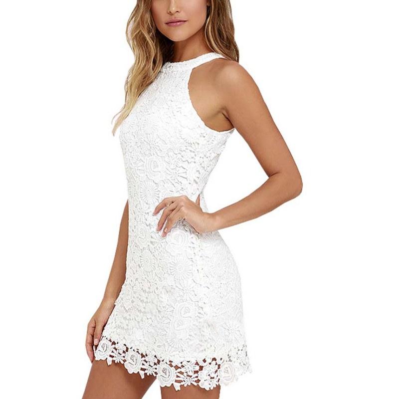 f3245335e6 Halter Neck Sleeveless Sheath Bodycon Lace Dress – Fashion Design Store