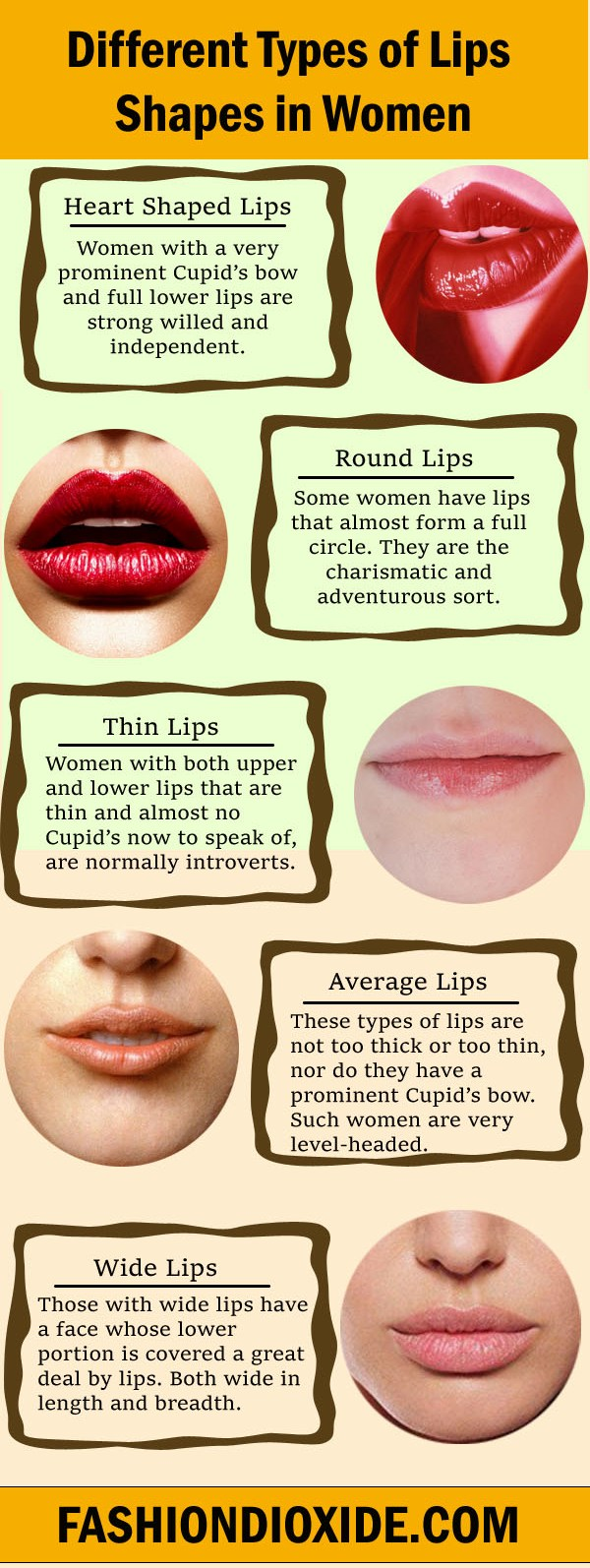 5 Different Types of Lips Shapes in Women