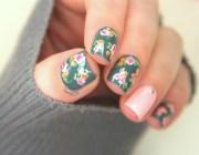 vintage floral nail design