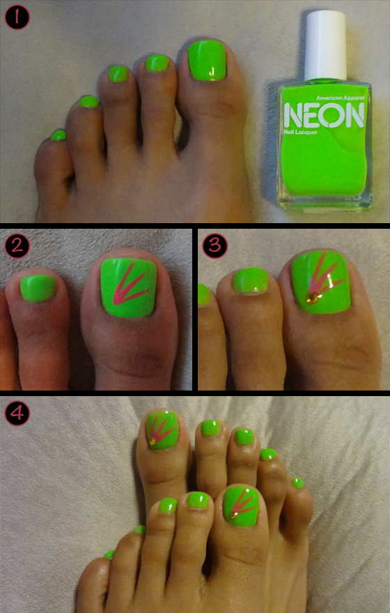 Tropical Neon Nail Art Tropicalneontoes02