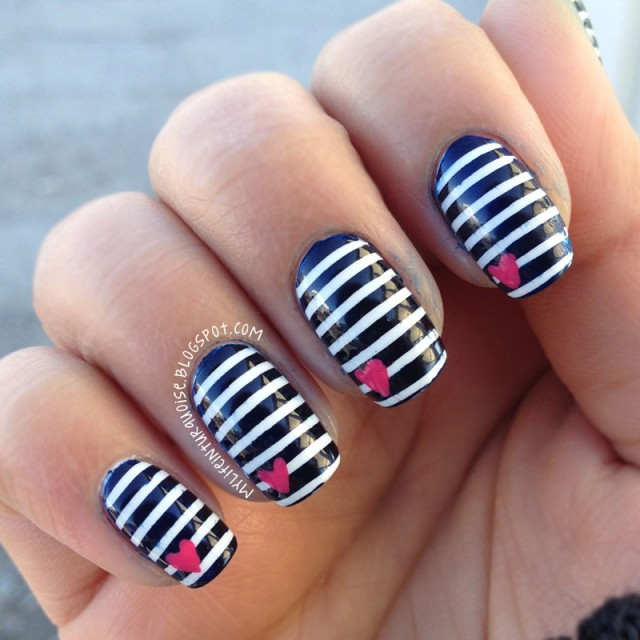 Image Via Extendcreative Black And White Striped Acrylic Nails Design Pictures
