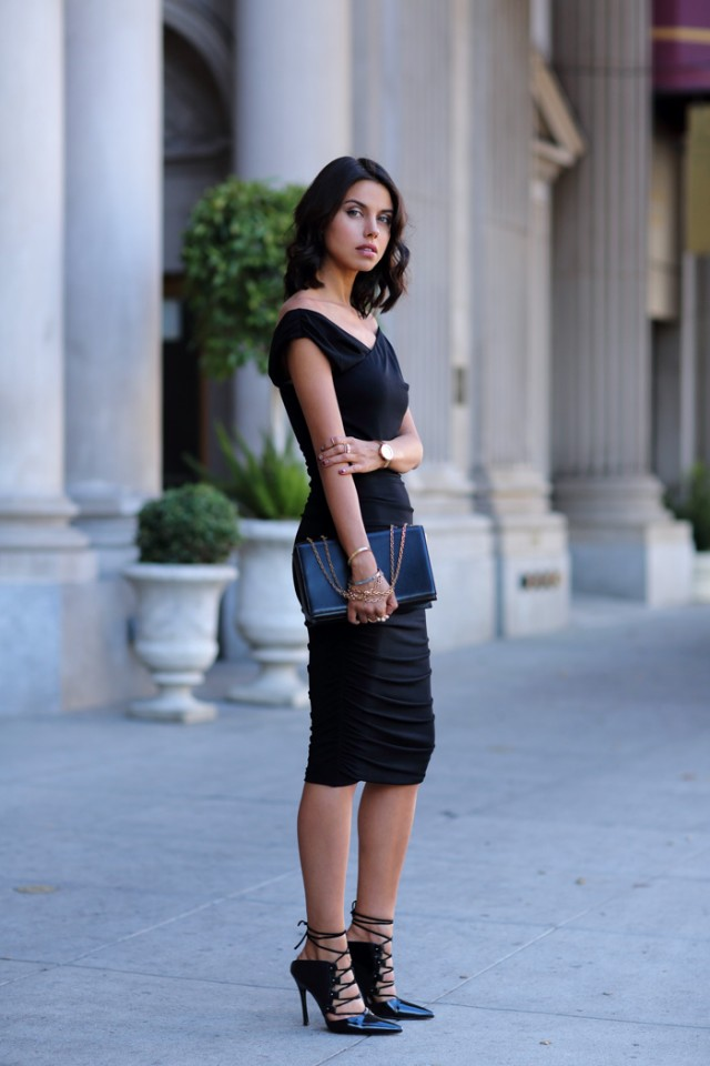 EXPRESS_black_surplice_wrap_ruched_jersey_midi_dress