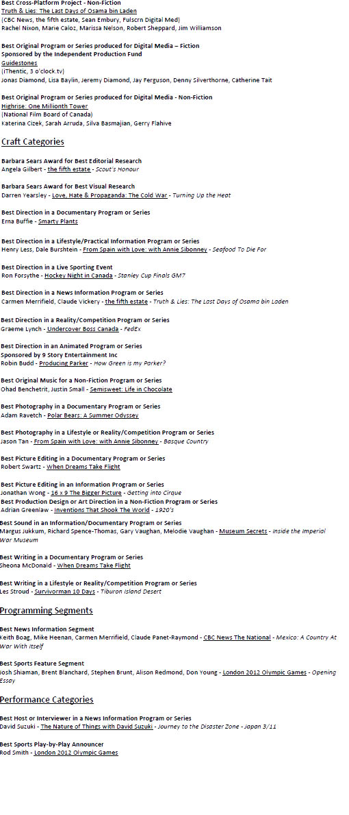 Canadian Screen Awards full awards list day 1-2