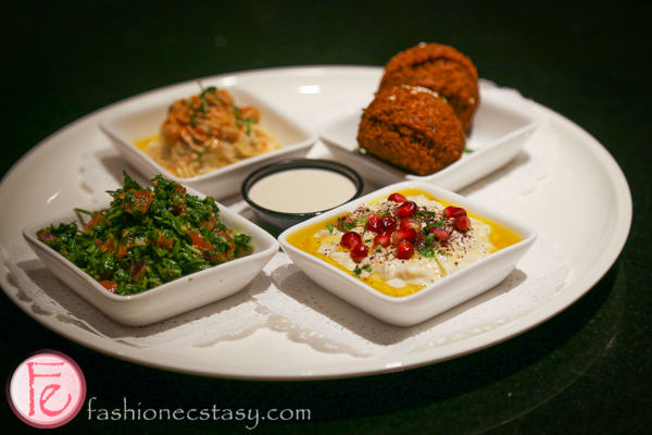 Falafel, Hummus, Moutabbal, Tabbouleh