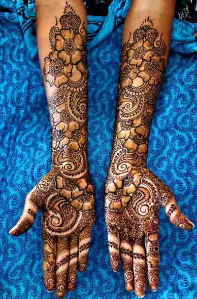 Simple Bridal Mehndi Designs For Full Hands Front And Back