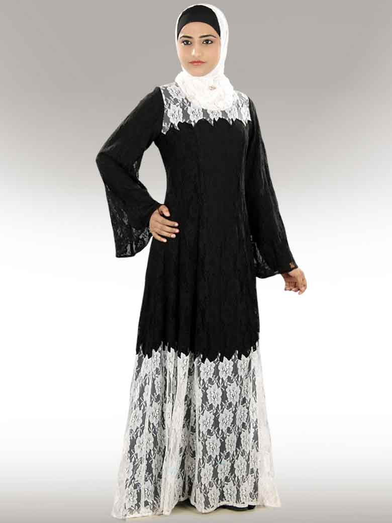 Black and white net lace formal party wear abaya with hijab styles