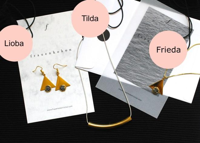 Welches ist euer Lieblingsstück und welches hättet ihr selbst gerne? Die Ohrringe Lioba, Kette Tilda oder doch lieber Kette Frieda?