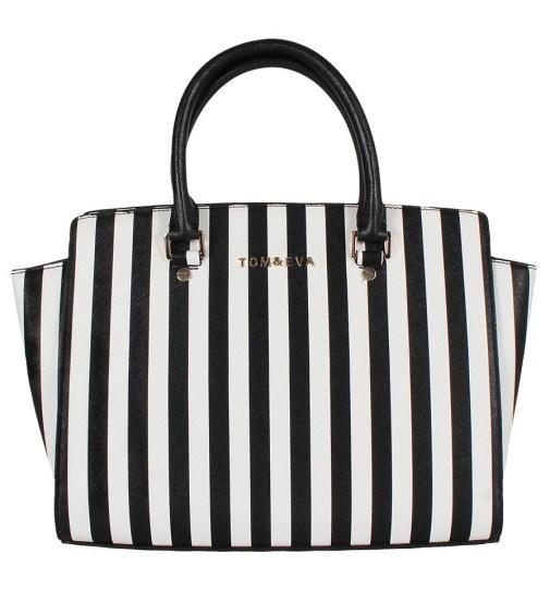 Tom & Eva 6135 Selma Damen Handtasche Stripe Schwarz/ Weiß online bestellen bei Modefreund online Fashion Shop