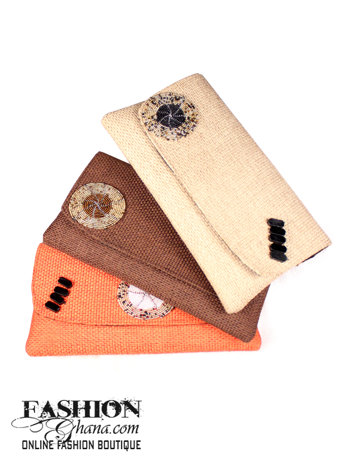 Kenyan Jute Clutch Bags With Circular Beaded Design