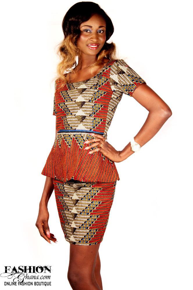 African Print Peplum Top & Pencil Skirt