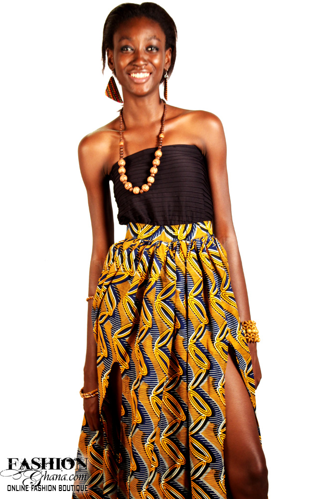 African Print Maxi Skirt With Slit Option