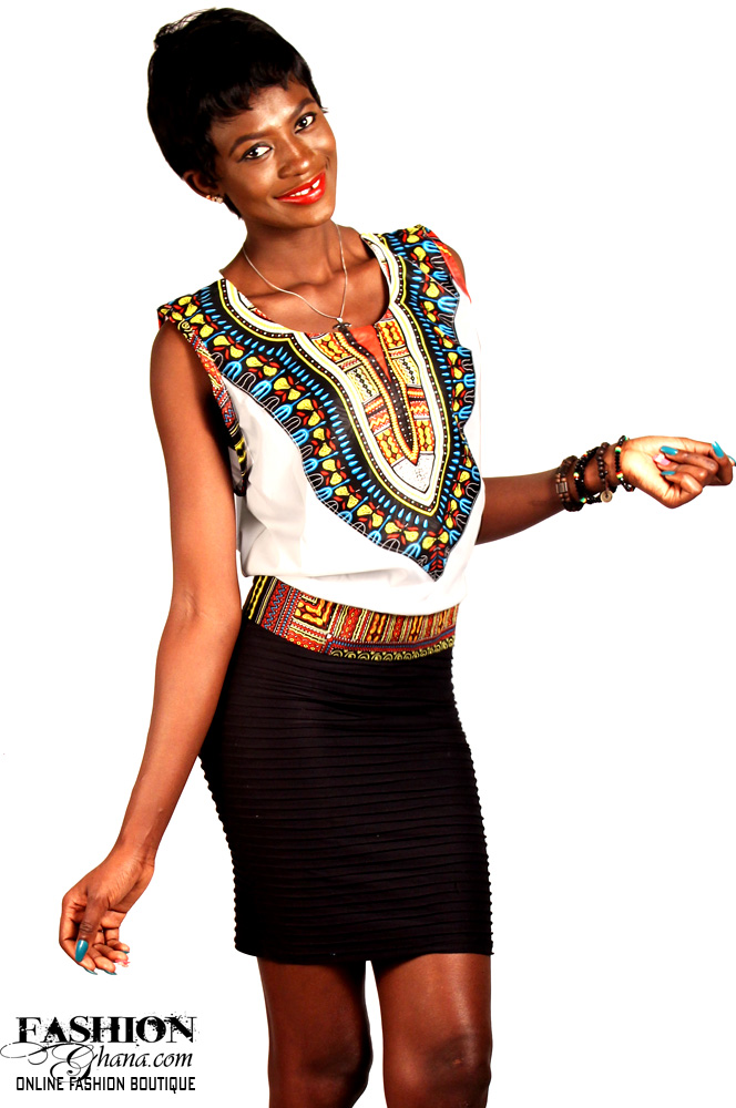 Dashiki / Angelina Print On Plain Sleeveless Top