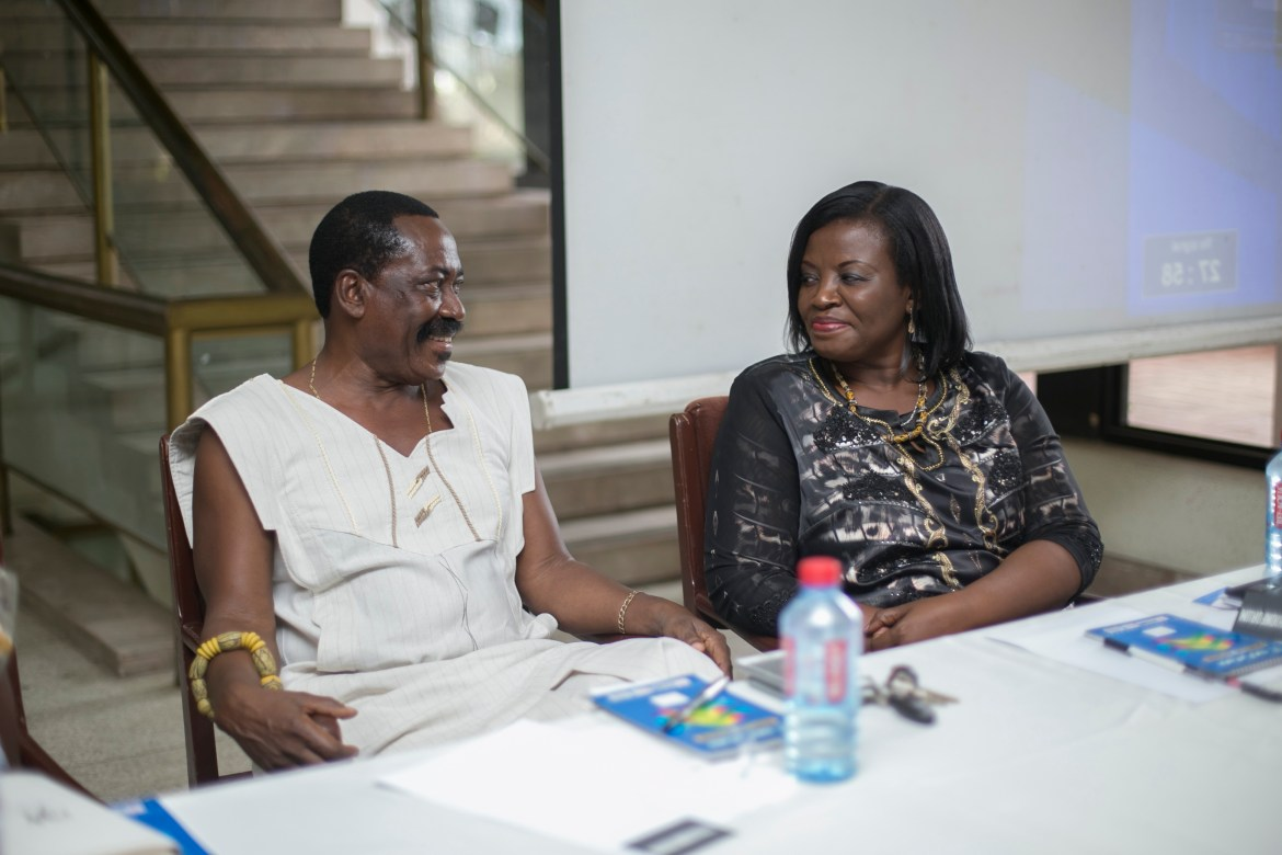 Tetteh Adzedu of Shapes sharing smiles with State Attorney Sarah Norkor-Anku